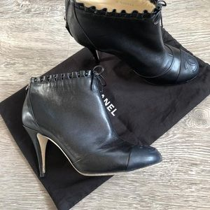 CHANEL Shoes - Chanel black logo booties 38.5